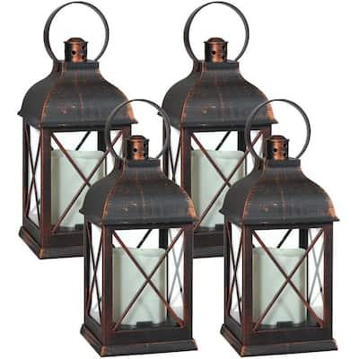 Setauket Bronze-Finish Battery Operated LED Candle Lantern - 10 in. (4-Pack)