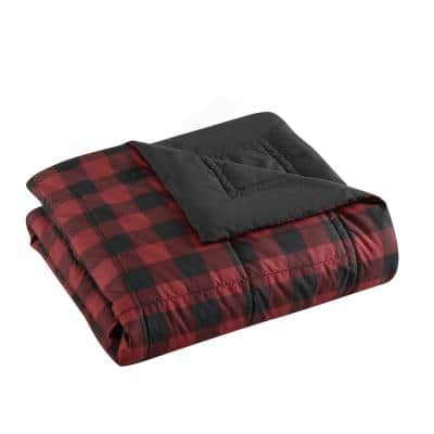 Mountain Plaid Red 1-Piece Down Microfiber Full/Queen Blanket