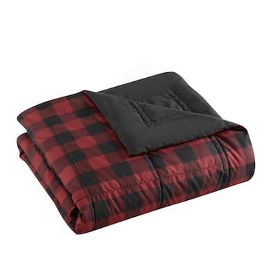 Mountain Plaid Red 1-Piece Down Microfiber King Blanket
