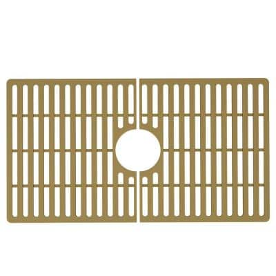27 in. x 15 in. Silicone Bottom Grid for 30 in. Single Bowl Kitchen Sink in Matte Gold