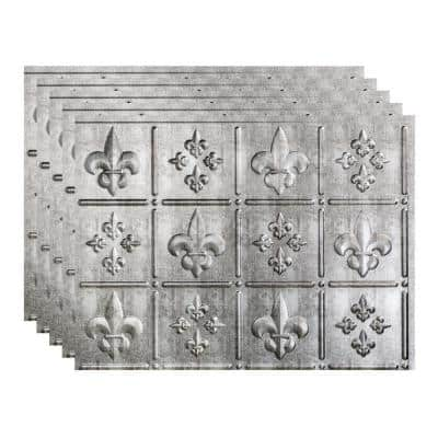 Fleur de Lis 18 in. x 24 in. Crosshatch Silver Vinyl Decorative Wall Tile Backsplash 15 sq. ft. Kit