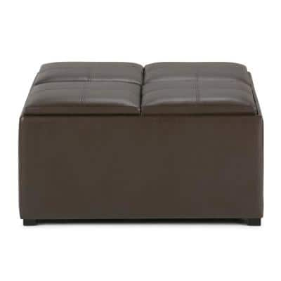 Lincoln 35 inch Wide Contemporary Square Storage Ottoman in Chocolate Brown Faux Leather