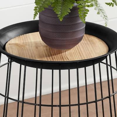 Round Black Metal Decorative Basket with Wood Lid (Set of 2)