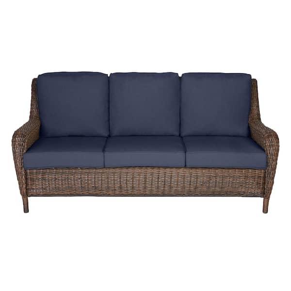 Hampton Bay Cambridge Brown Wicker, Patio Furniture Couch
