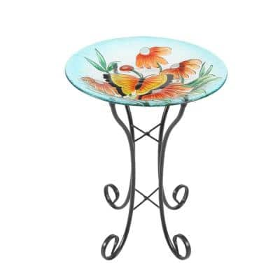 Butterfly and Flowers Glass Bird Bath with Metal Stand