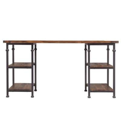 60 in. Rectangular Distressed Cocoa Writing Desk with Built-In Storage