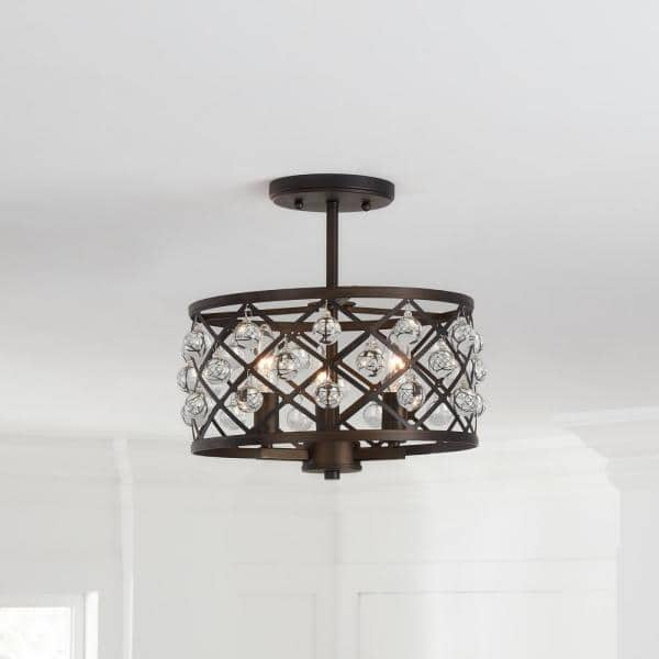 Home Decorators Collection Pennington Crest 13 In 3 Light Aged Bronze Semi Flush Mount With Crystal Globes Hd 1679ab I The Home Depot