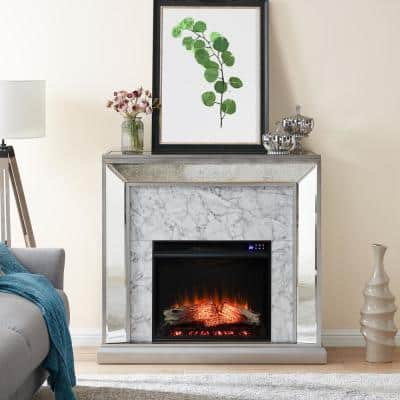 Legamma 44 in. Mirrored and Faux Marble Electric Fireplace in White