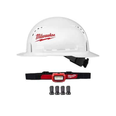 350 Lumens LED Headlamp with BOLT White Type 1 Class C Full Brim Vented Hard Hat
