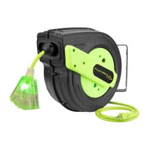 Retractable Extension Cord Reel, 12/3 AWG SJTOW Cord with Grounded Triple Tap Outlet