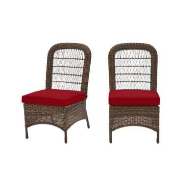 Beacon Park Brown Wicker Outdoor Patio Armless Dining Chair with CushionGuard Chili Red Cushions (2-Pack)