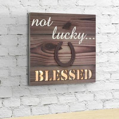 12 in. x 12 in. Brown Wood LED Wall Art with Horseshoe Detail