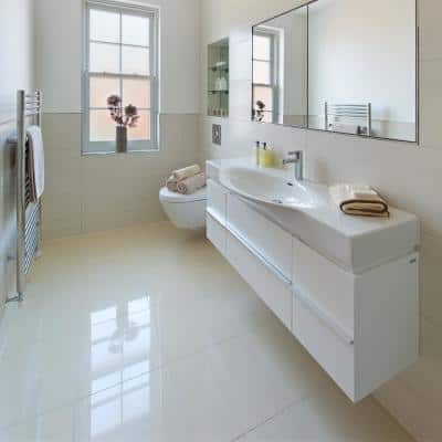 Yulong White 24 in. x 24 in. Polished Porcelain Floor and Wall Tile (16 sq. ft./Case)