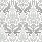 Grey Nouveau Damask Vinyl Peel & Stick Wallpaper Roll (Covers 30.75 Sq. Ft.)