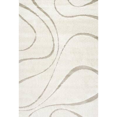 Carolyn Contemporary Curves Shag Cream 2 ft. x 3 ft. Area Rug
