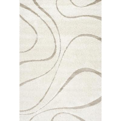 Carolyn Contemporary Curves Shag Cream 8 ft. x 10 ft. Area Rug