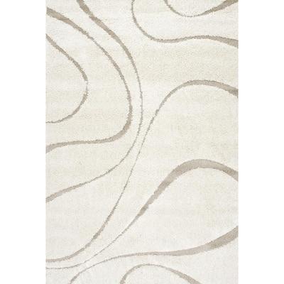 Carolyn Contemporary Curves Shag Cream 9 ft. x 12 ft. Area Rug