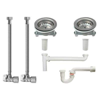 Double Bowl Sink End Outlet Supply and Drainage Installation Kit