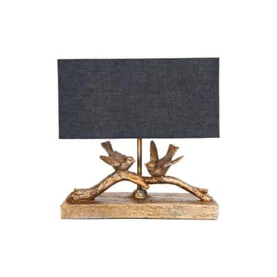 11.5 in. Rustic Gold Bird Lamp with Rectangle Shade