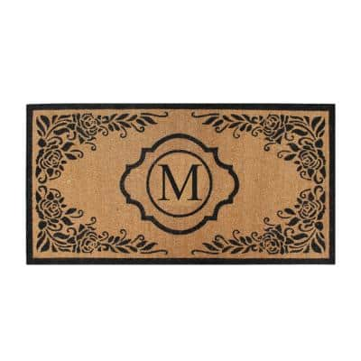 First Impression Hand Crafted Ella Entry X-Large Double Black/Beige 36 in. x 72 in. Coir Monogrammed M Door Mat