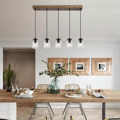 Firefly 5-Light DIY Mason Jar Island Chandelier Pendant Light with Rustic Faux Wood Accents
