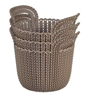 3.0 Qt. Knit Round X-Small Storage Basket Set in Harvest Brown (3-Piece Set)