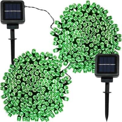 200-Light Outdoor 68 ft. Solar Round Mini LED String Light Set in Green (2-Pack)