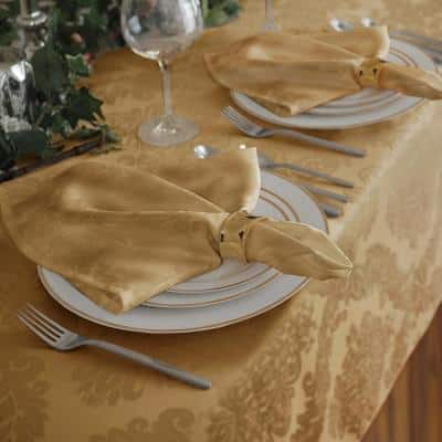 17 in. W x 17 in. L Barcelona Damask Gold Fabric Napkins (Set of 4)