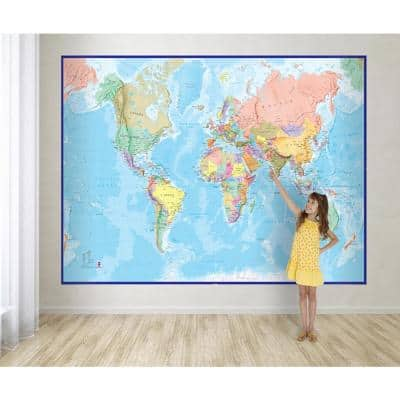 Giant World Wall Map Mural - Blue
