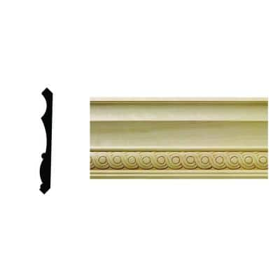 1/2 in. x 5-1/4 in. x 96 in. Hardwood White Unfinished Rondele Crown Moulding