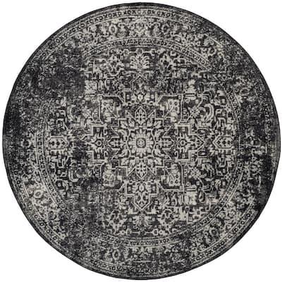 Evoke Black/Gray 5 ft. x 5 ft. Round Border Area Rug