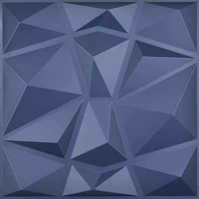 Diamond Decorative 3D PVC Wall Panel Navy Blue 19.7 x 19.7 in. ( 32 sq. ft. /case)
