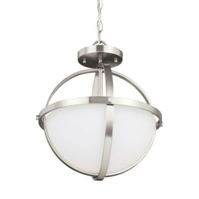 Alturas 2-Light Brushed Nickel Semi-Flushmount Convertible Pendant with LED Bulbs
