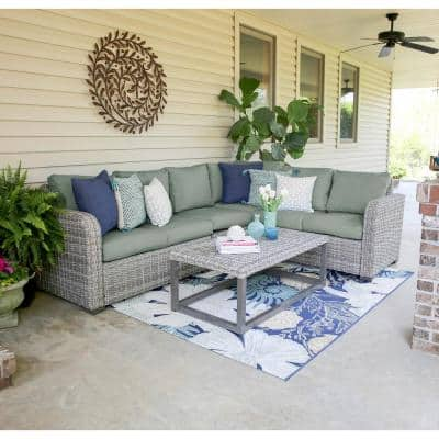 Forsyth 5-Piece Wicker Outdoor Sectional with Sunbrella Sage Cushions