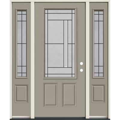 60 in. x 80 in. Left-Hand/Inswing 3/4 Lite Atherton Decorative Glass Desert Sand Steel Prehung Front Door w/Sidelites