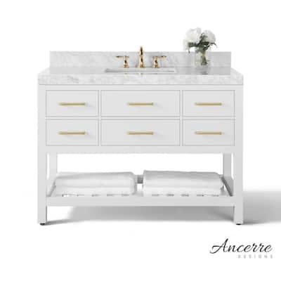 Elizabeth 48 in. W x 22 in. D Vanity in White with Marble Vanity Top in White with White Basin