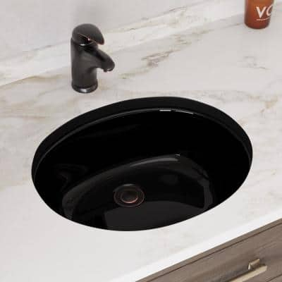 19 in. Undermount Bathroom Sink in Black with Black SinkLink