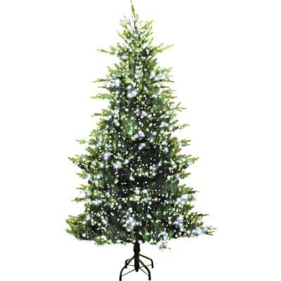 9 ft. LED Aurora Green Christmas Tree with Warm White Cluster Rice Lights