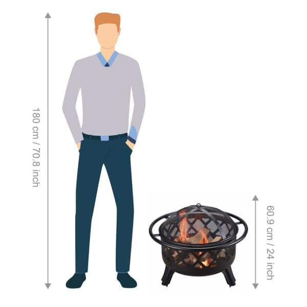 Peaktop 30 In X 24 In Round Steel Wood Burning Outdoor Fire Pit In Black Cu296 The Home Depot
