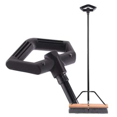 Easy Back 18 in. Garage and Porch Ergonomic Push Broom