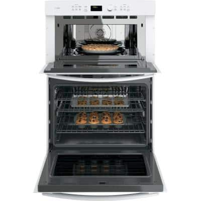 Profile 30 in. Double Electric Wall Oven with Convection Self-Cleaning and Built-In Microwave in White
