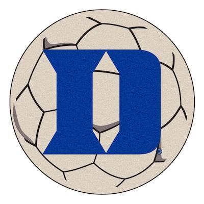 NCAA Duke University White 27 in. Round Soccer Ball Area Rug