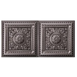 Marseille 2 ft. x 4 ft. Lay-in or Glue-up Ceiling Tile in Antique Silver (80 sq. ft. / case)