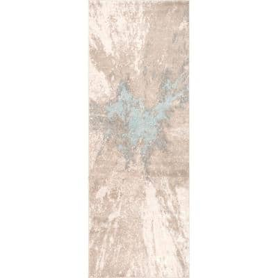 Contemporary Cyn Beige 2 ft. 6 in. x 12 ft. Abstract Runner Rug