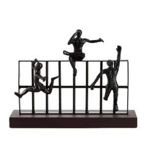 14 in. x 11 in. Rectangular Black Metal And Wood Sculpture With Attached Climbing Figures