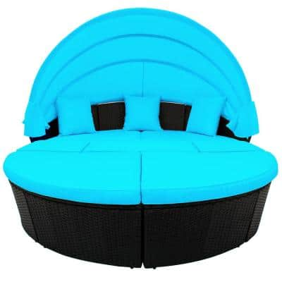 Black PE Wicker Rattan Patio Furniture Round Outdoor Daybed with Retractable Canopy and Blue Cushions