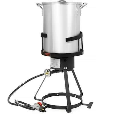 30 qt. 55,000 BTU Propane Gas Stove Aluminum Pot Turkey Deep Fryer Kit (6-Piece)