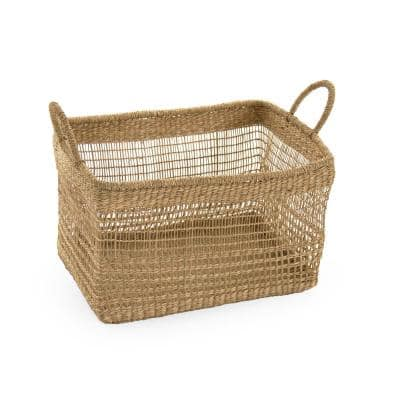 Rectangular Handmade Wicker Seagrass Woven Over Metal Large Baskets with Handles