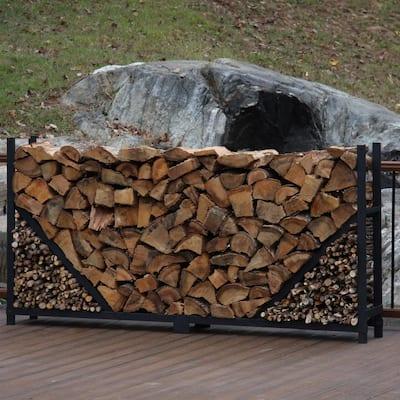 8 ft. Firewood Log Rack with Kindling Holder - Straight Sides