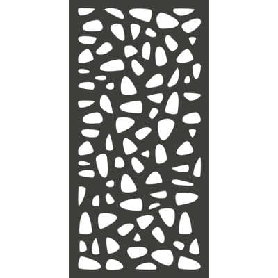 6 ft. x 3 ft. Charcoal Gray Decorative Composite Fence Panel Featured in the Stonewall Design